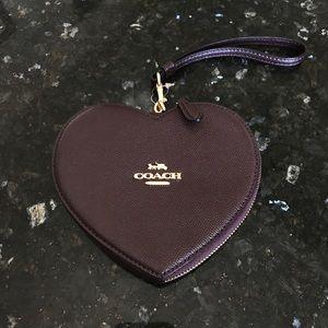 New Coach Leather Heart Shaped Wristlet